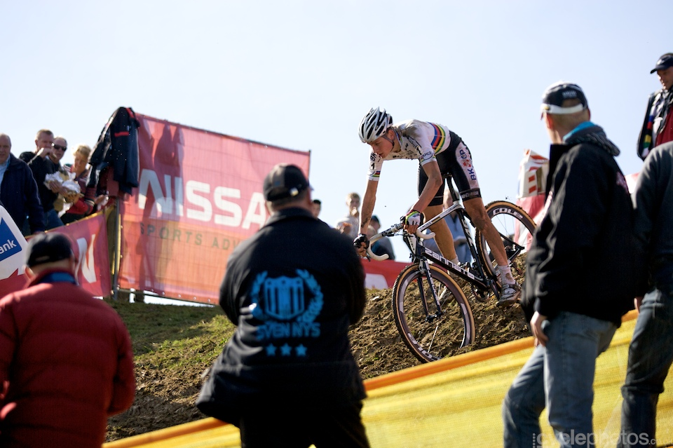 Mathieu van der Poel tackles the toughest descent of the Bpost Trofee cyclocross race in Ronse, Belgium.