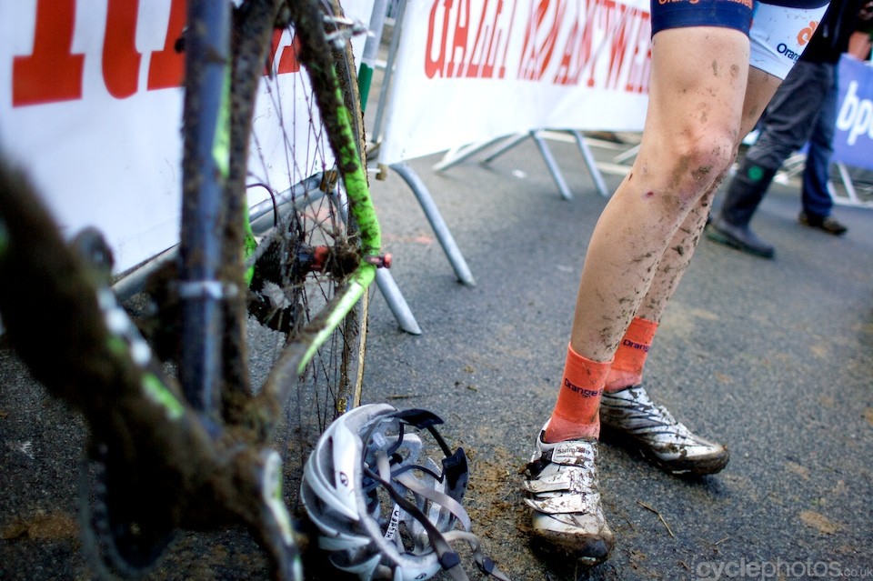 Muddy leg of a junior rider after the first round of the Bpost Trofee cyclocross race in Ronse, Belgium.