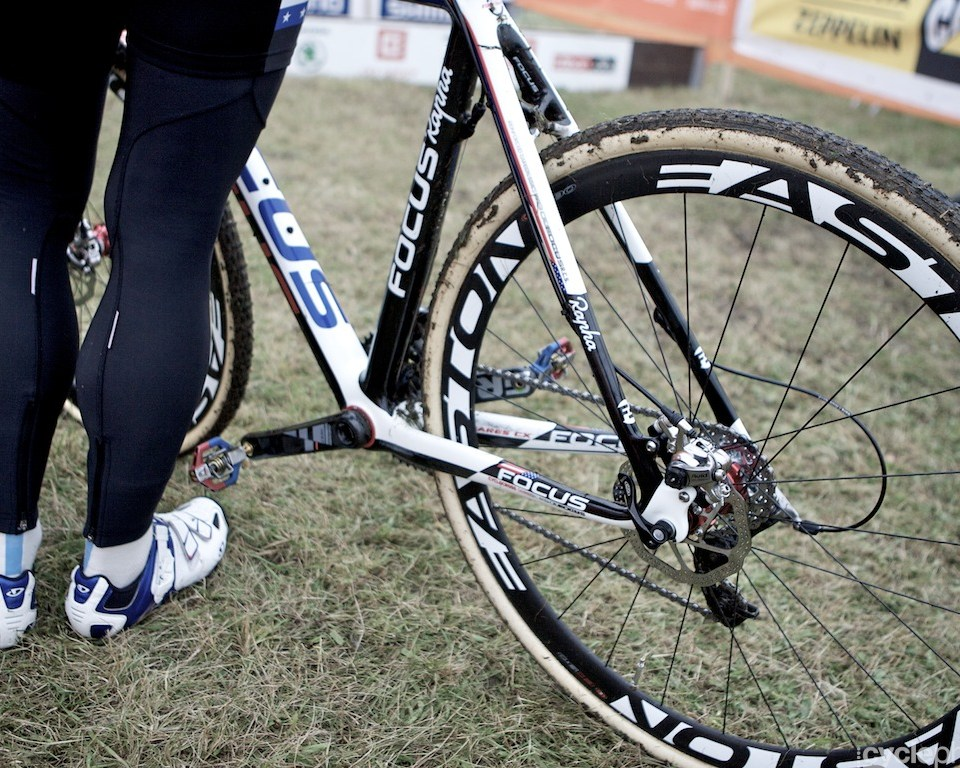 Jeremy Powers and his disc brake equipped bike before the first round of the cyclocross World Cup in Tabor, Czech Republic.