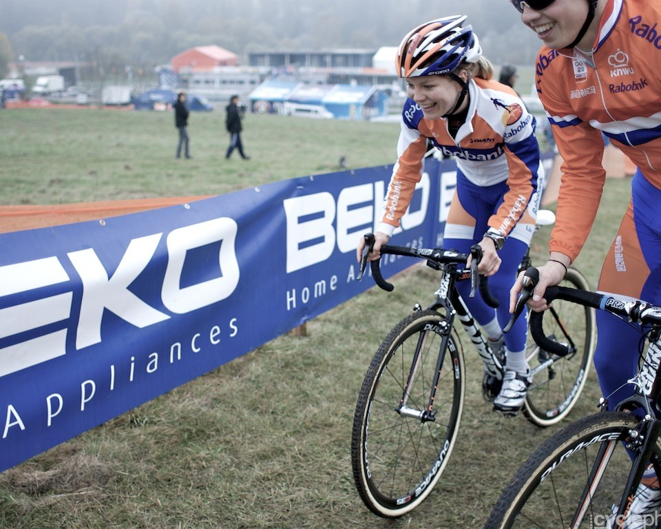 Sanne van Paassen pre-rides the course before the first round of the cyclocross World Cup in Tabor, Czech Republic.
