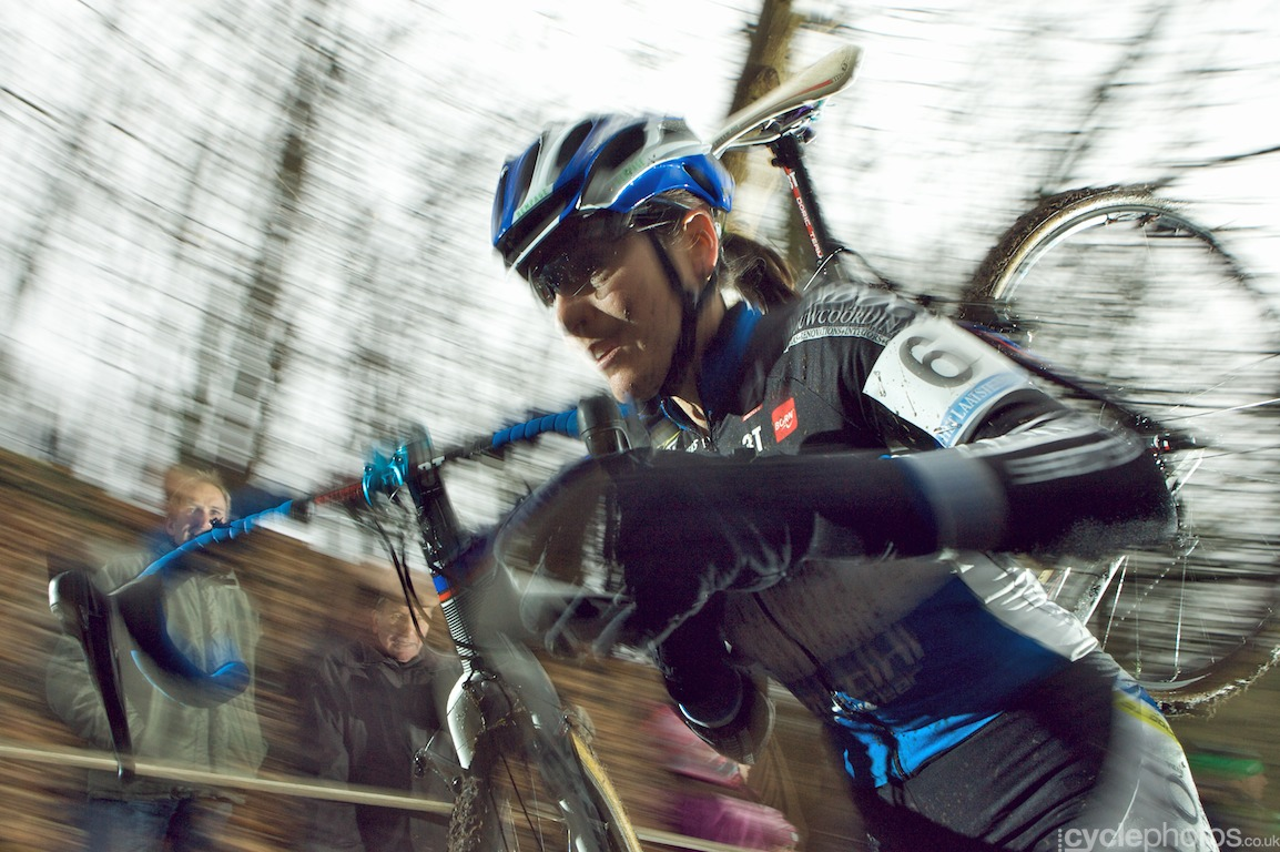 Christine Vardaros is a tough cookie - after crashing hard yesterday, I was surprised to see her in the race.