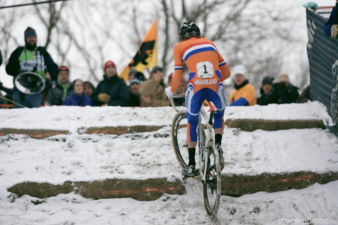 Mathieu van der Poel almost rides up the limestone climb at the cyclocross World Championships in Louisville, Kentucky