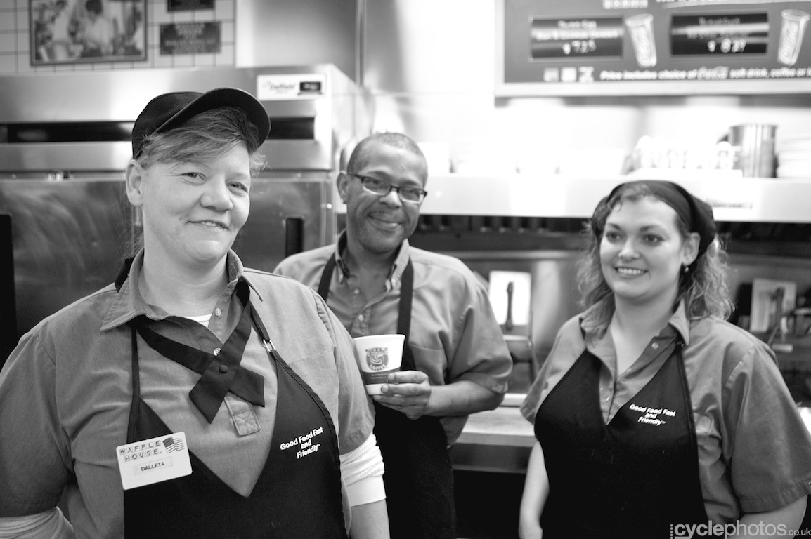 Staff of a Waffle House in Cincinnati, OH. Photo by Balint Hamvas / Cyclephotos
