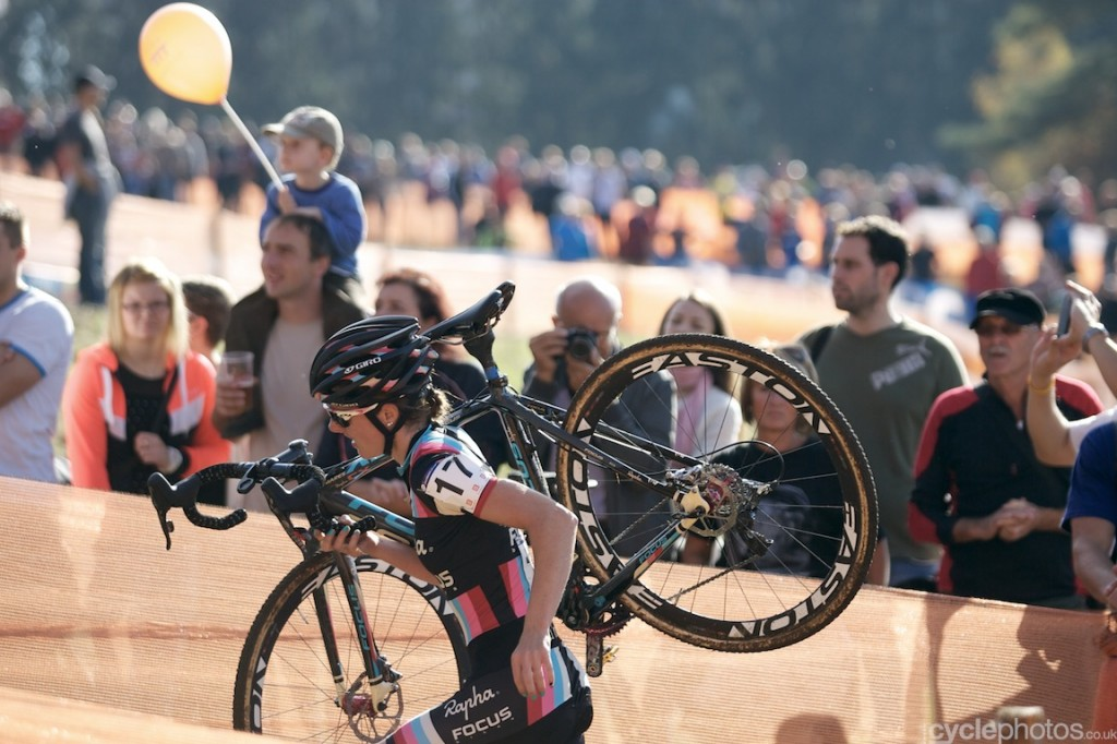 Gabby Durrin rides midfield in the first lap of the elite women's cyclocross World Cup race in Tabor