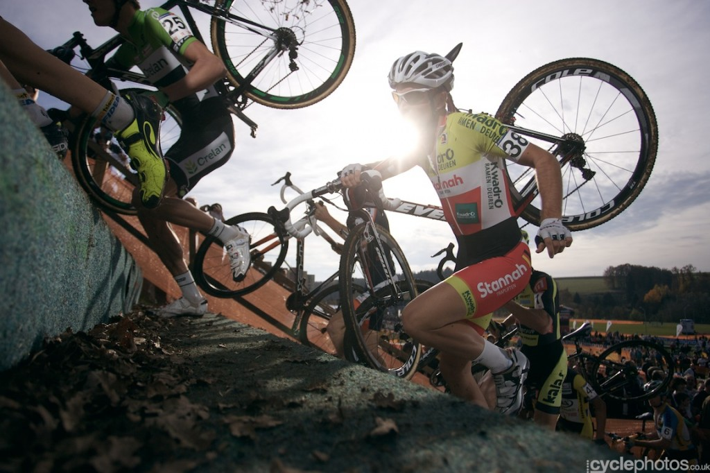 Marcel Meisen conquers the steps in the first lap of the elite men's cyclocross World Cup race in Tabor.