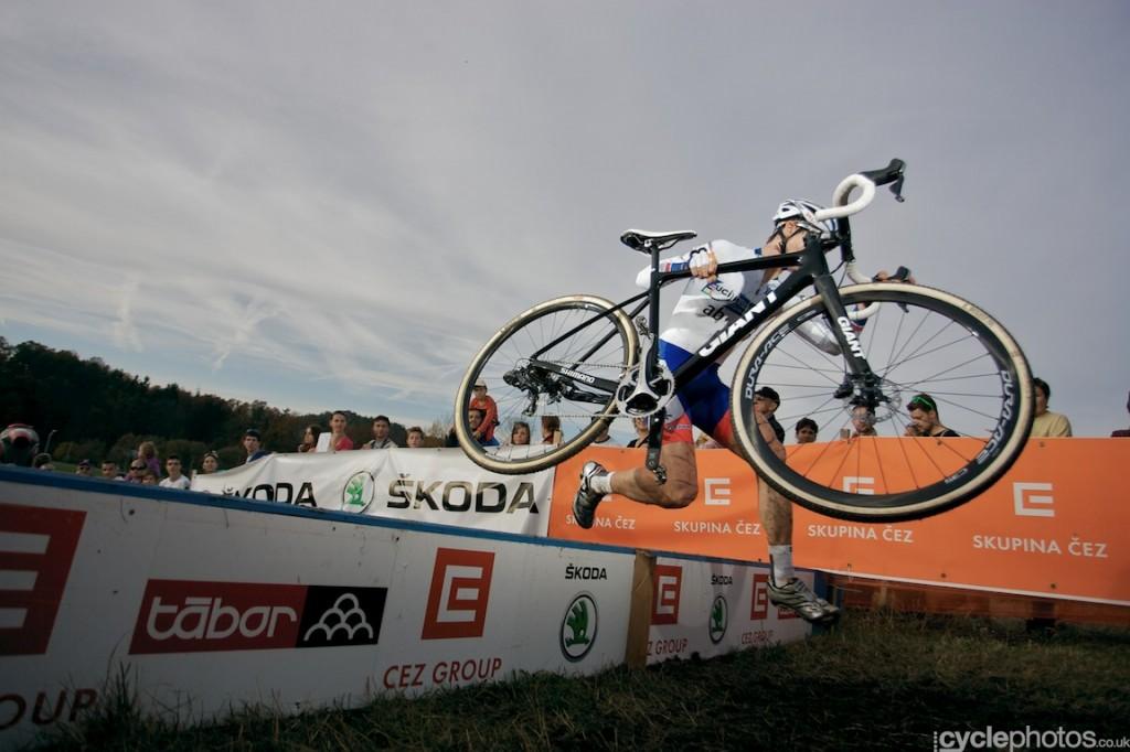 Lars van der Haar leads the race in the sixth lap of the elite men's cyclocross World Cup race in Tabor.