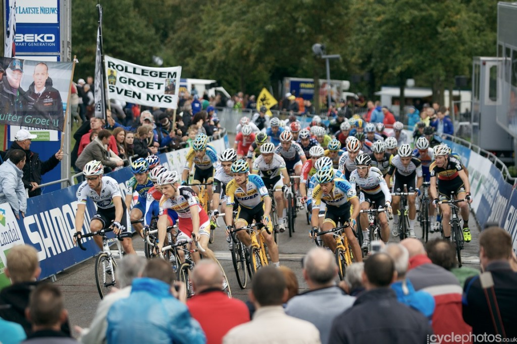 The start of the elite men's cyclocross World Cup race at Valkenburg.