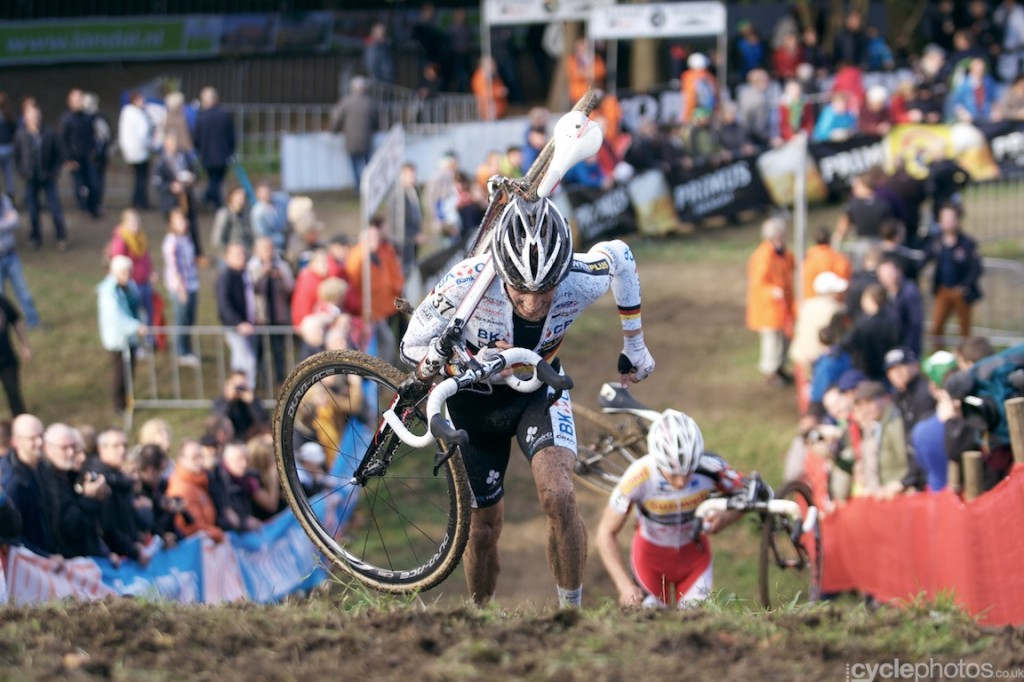 Kevin Pauwels chases Philip Walsleben in the sixth lap of the elite men's cyclocross World Cup race in Valkenburg