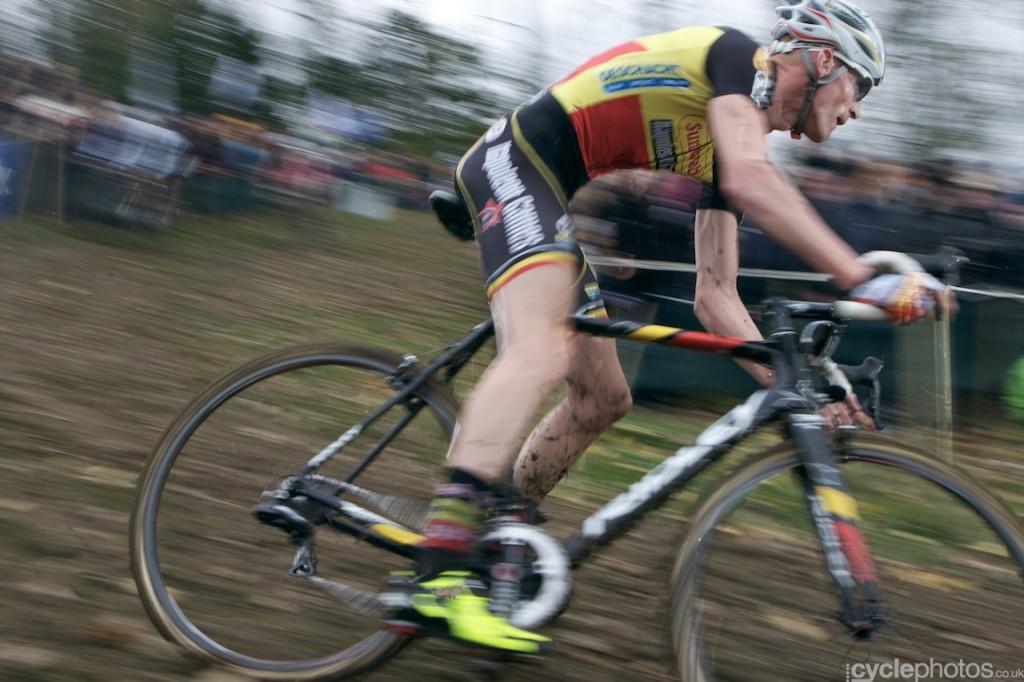 Klaas Vantornout rides in the fifth lap of the elite men's cyclocross Bpost Bank Trofee race at Koppenberg.