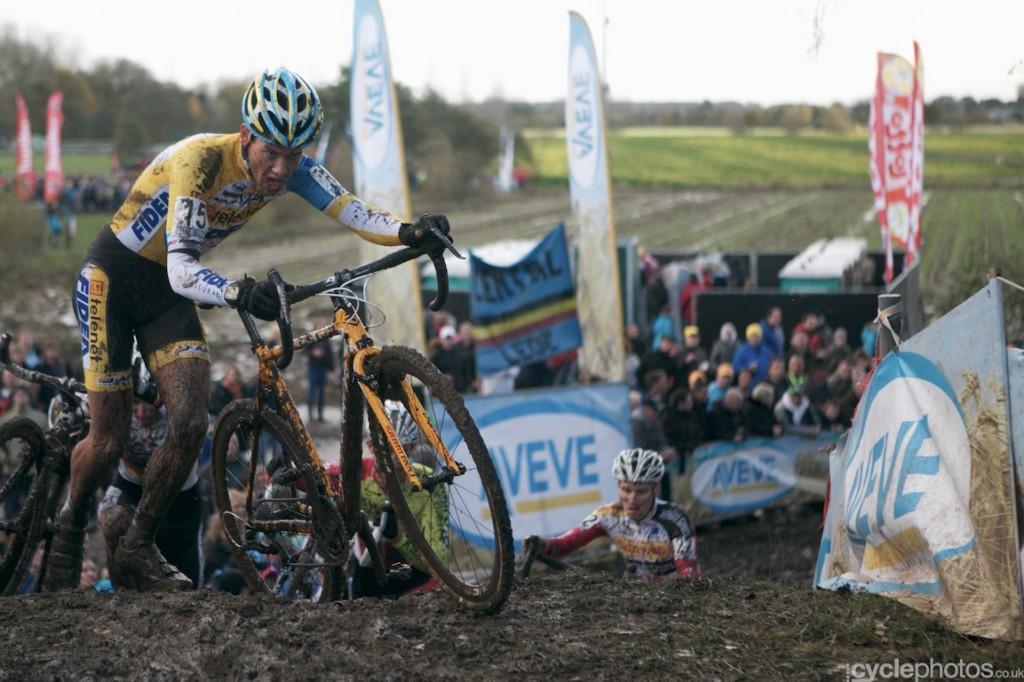 Tom Meeusen rides in the third lap of the elite men's cyclocross Superprestige race in Hamme-Zogge
