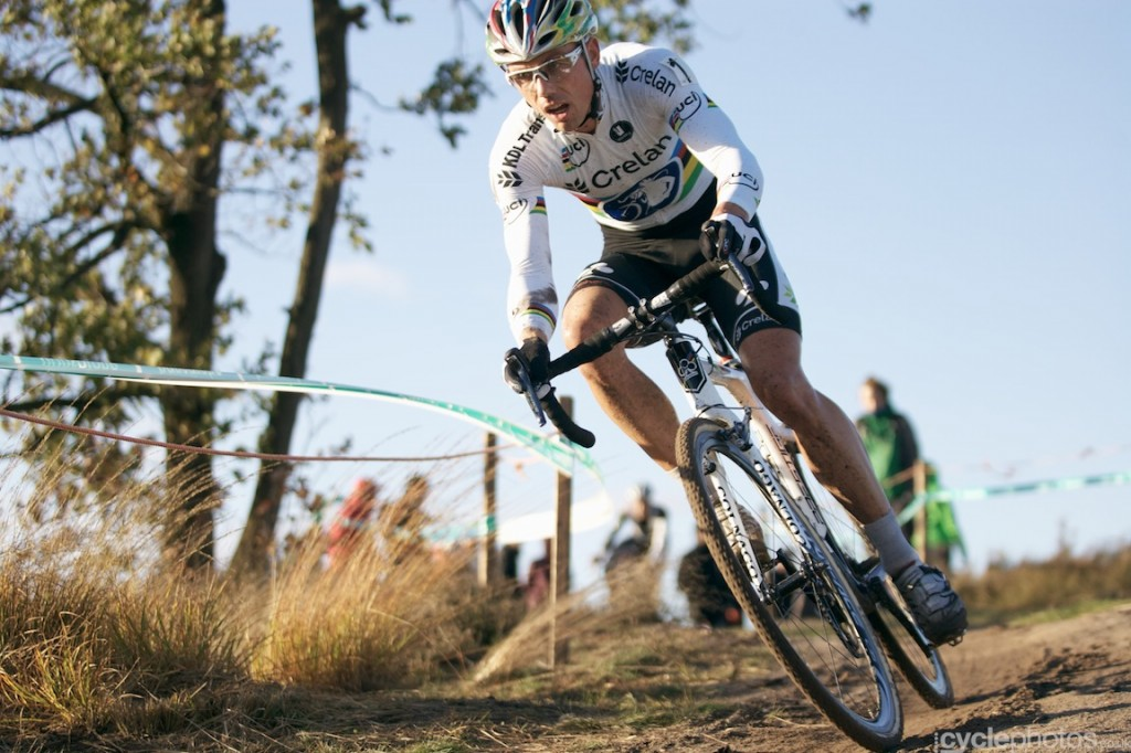 Sven Nys rides in the penultimate lap of the elite men's Superprestige cyclocross race in Zonhoven.