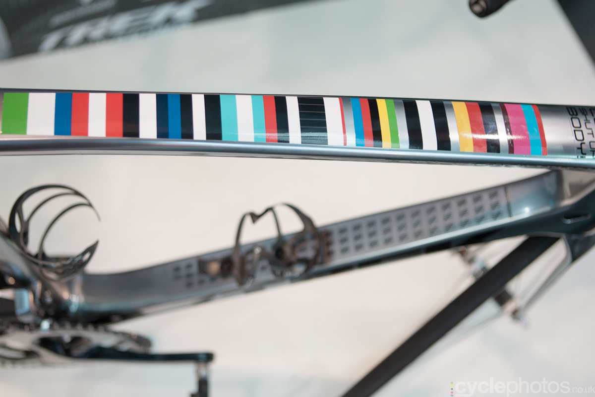 Jens Voigt's retirement bike with custom made decals at the 2014 Eurobike Bike show in Friedrichshafen, Germany.