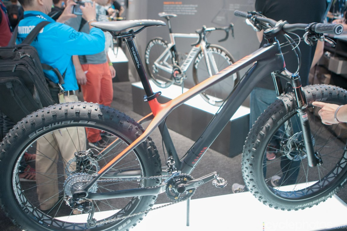 Canyon fat-tyre mountain bike at the 2014 Eurobike Bike show in Friedrichshafen, Germany.