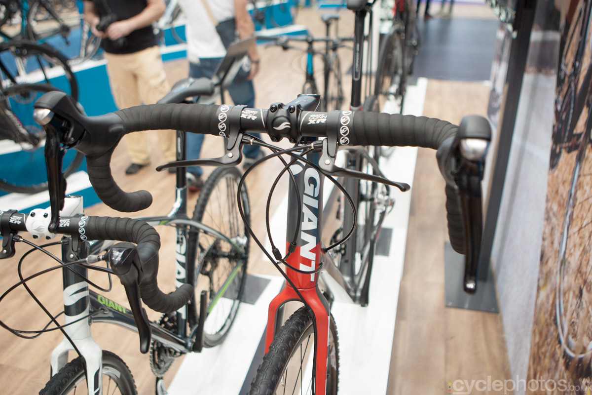 The 2015 Giant TCX SLR at the 2014 Eurobike Bike show in Friedrichshafen, Germany.