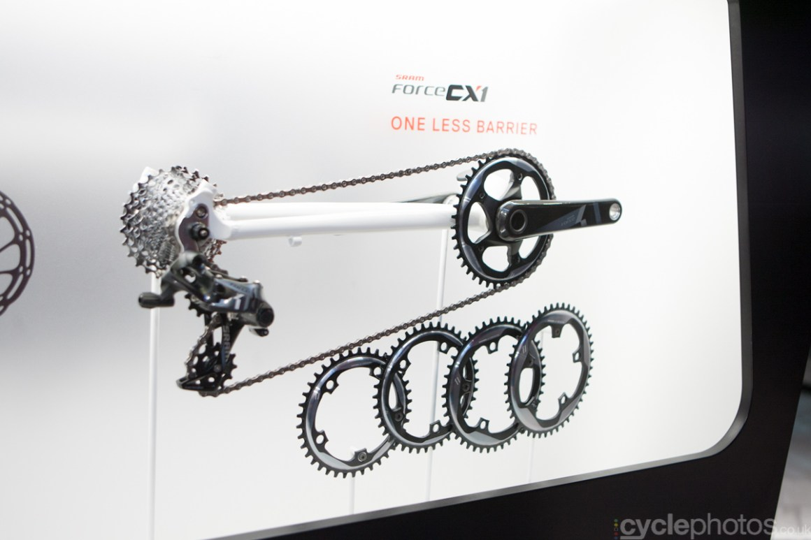 SRAM CX1 groupset showcase at the 2014 Eurobike Bike show in Friedrichshafen, Germany.