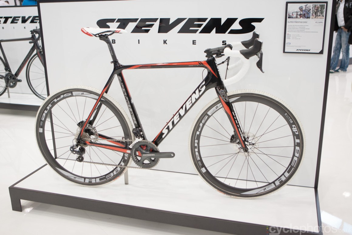 A 2015 Stevens Superprestige cyclocross bike at the 2014 Eurobike Bike show in Friedrichshafen, Germany.