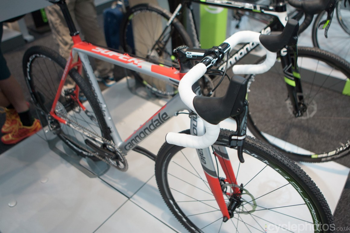 2015 Cannondale SuperX cyclocross bike at the 2014 Eurobike Bike show in Friedrichshafen, Germany.