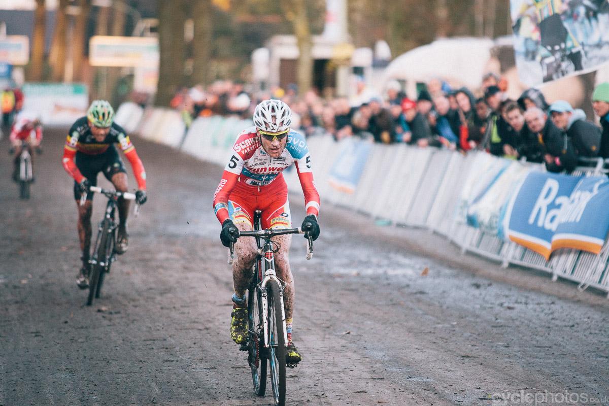 Klaas Vantornout rides on to win the 2012 Superprestige cyclocross race in Gieten.