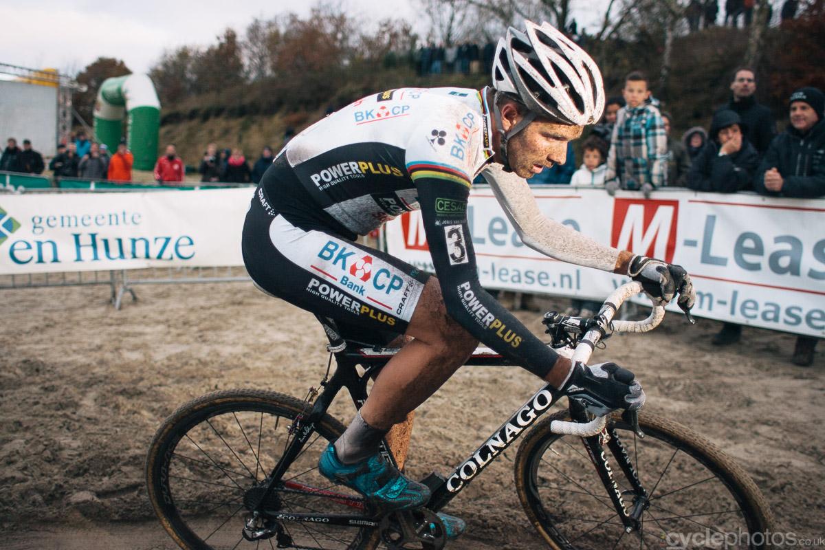 Niels Albert corners in the last lap of the 2013 Superprestige cyclocross race in Gieten.