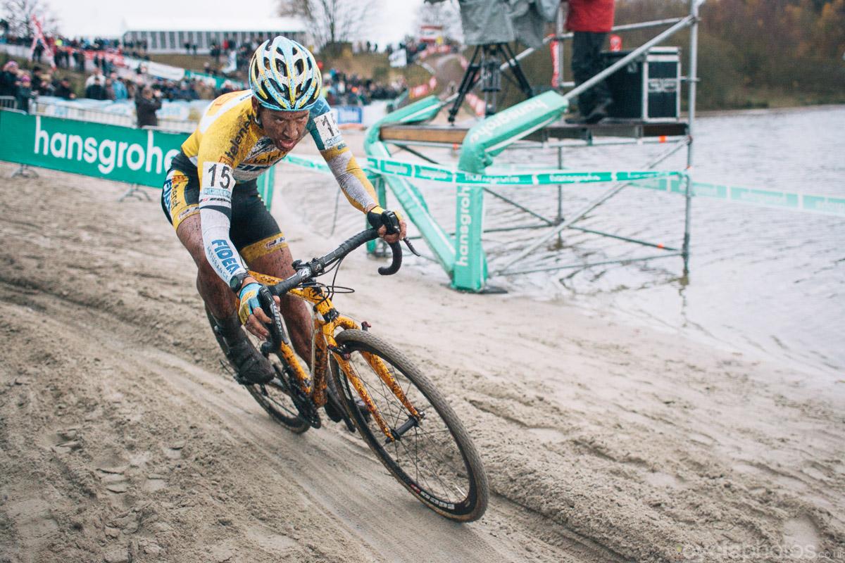 Tom Meeusen corners in the fifth lap of the 2013 Superprestige cyclocross race in Gieten.