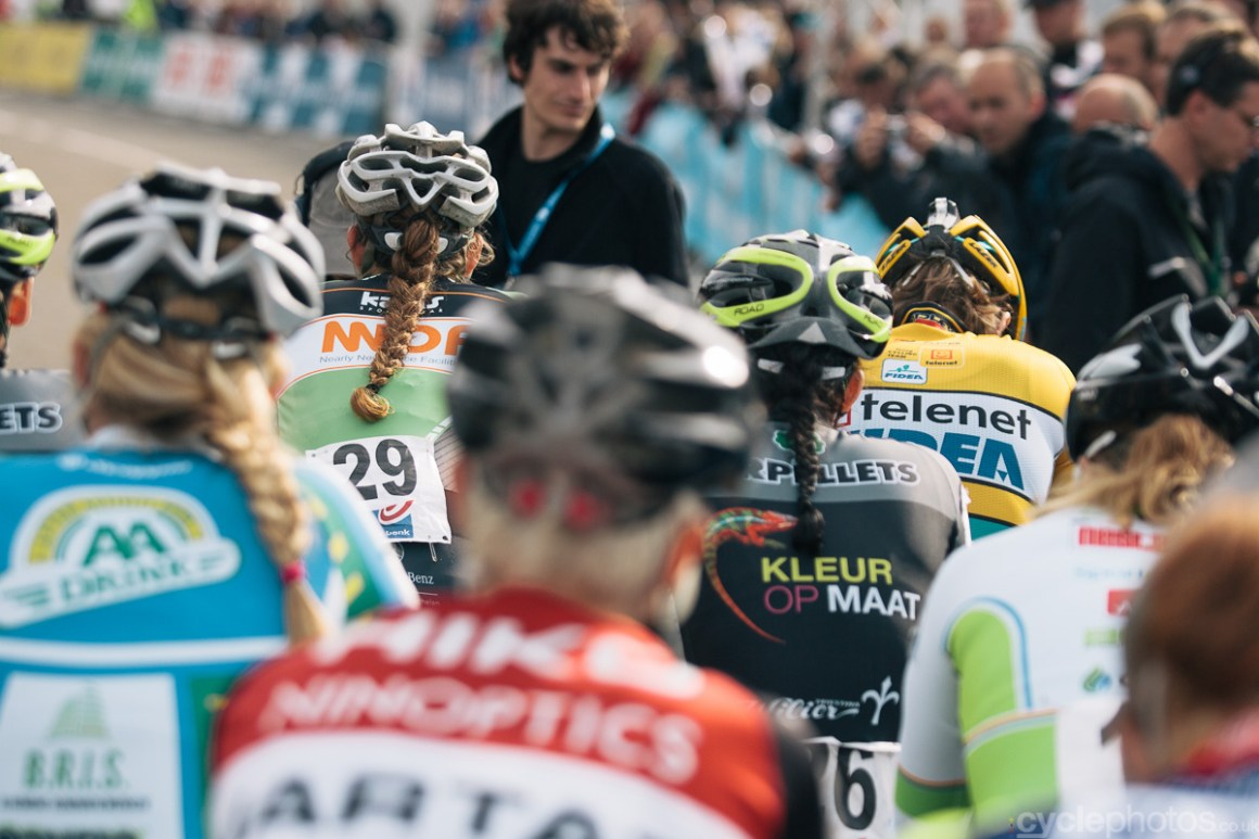 Racers line up for the start of the Bpost Bank Trofee cyclocross race in Ronse. Photo by Balint Hamvas / cyclephotos.co.uk