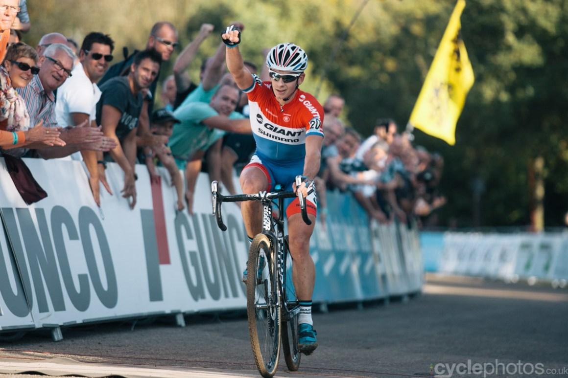 Lars van der Haar wins of the first cyclocross World Cup race of the 2014/2015 season in Valkenburg.