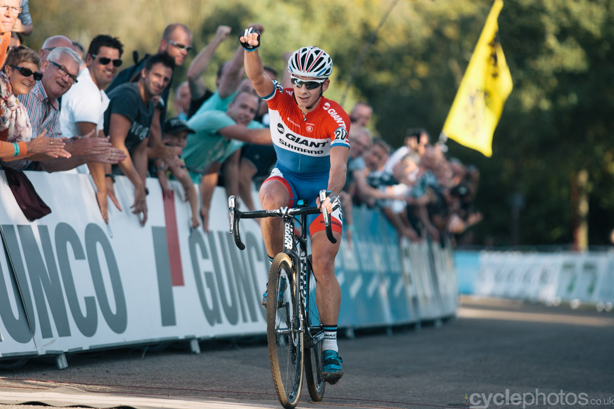Lars van der Haar wins of the first cyclocross World Cup race of the 2014/2015 season in Valkenburg.