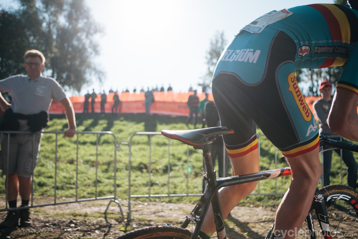 Michael Vanthourenhout rides in the fourth lap of the first cyclocross World Cup race of the 2014/2015 season in Valkenburg.