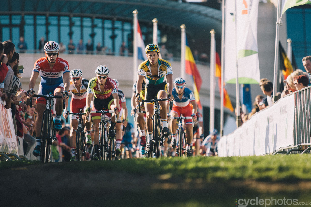 Lars van der Haar and Tom Meeusen lead the field after the start of of the first cyclocross World Cup race of the 2014/2015 season in Valkenburg.