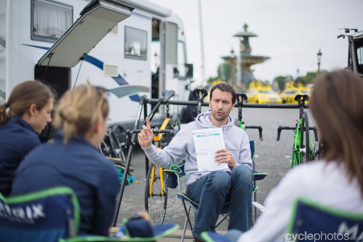 Stef Wyman holds the team briefing for the Matrix  Pro Cycling Team
