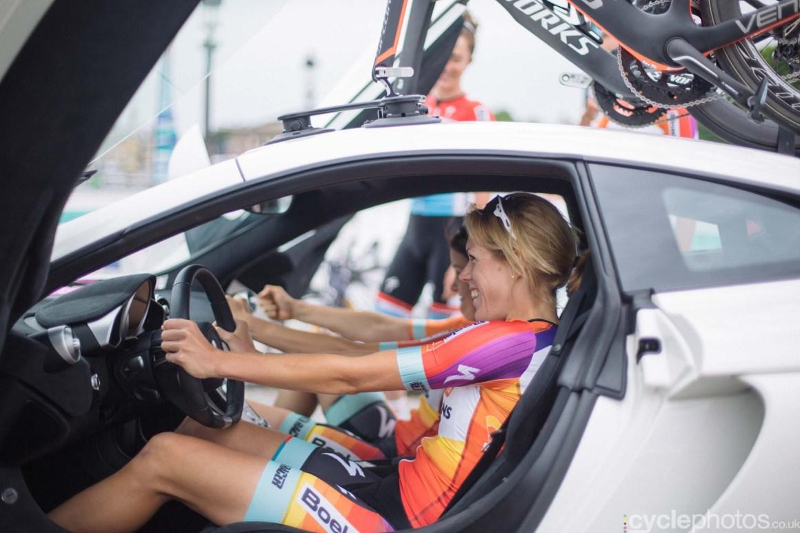 Ellen van Dijk before the 2015 edition of the La Course by Le Tour women's road cycling race.