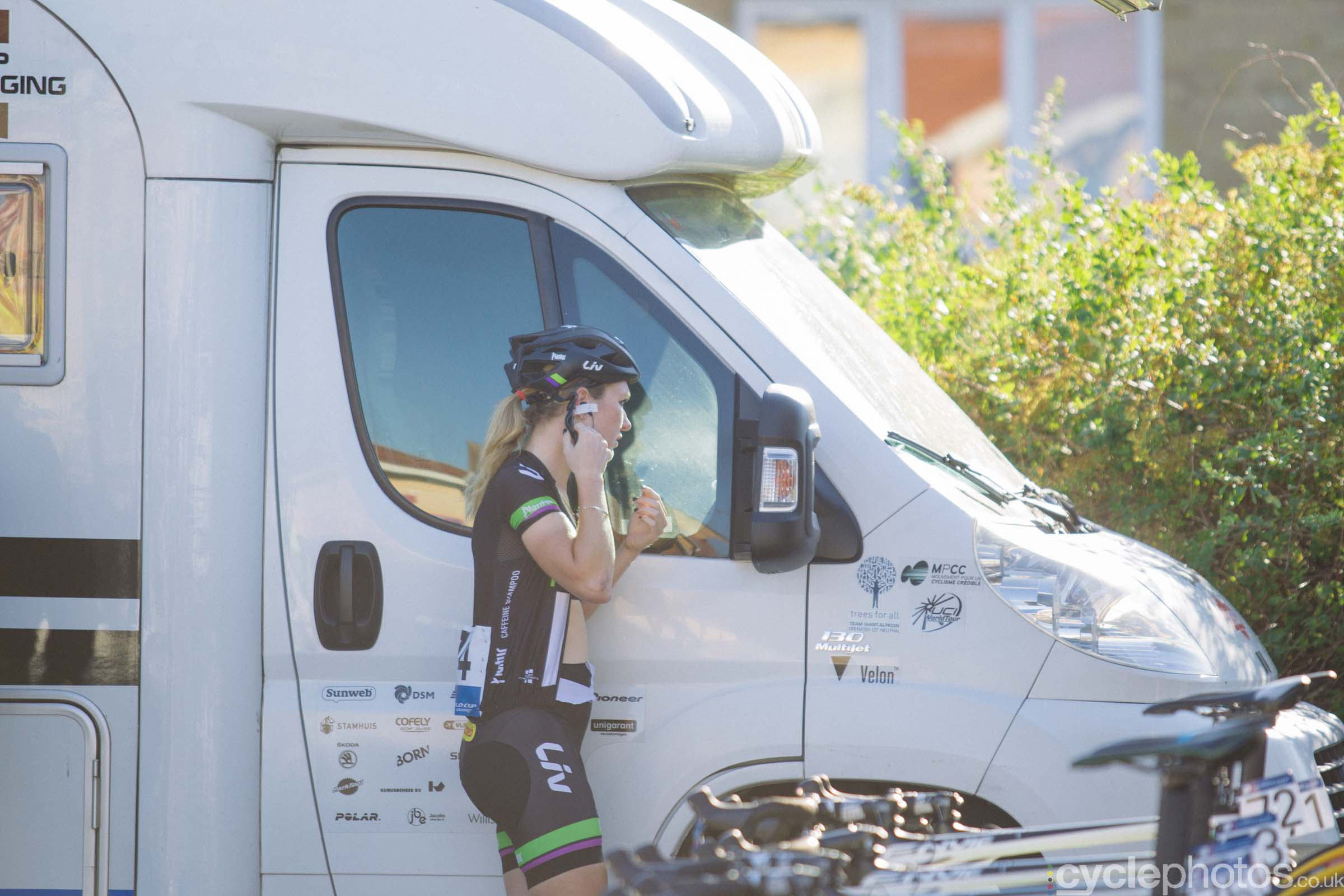 Amy Pieters before the 2015 edition of the Vargarda women's World Cup race