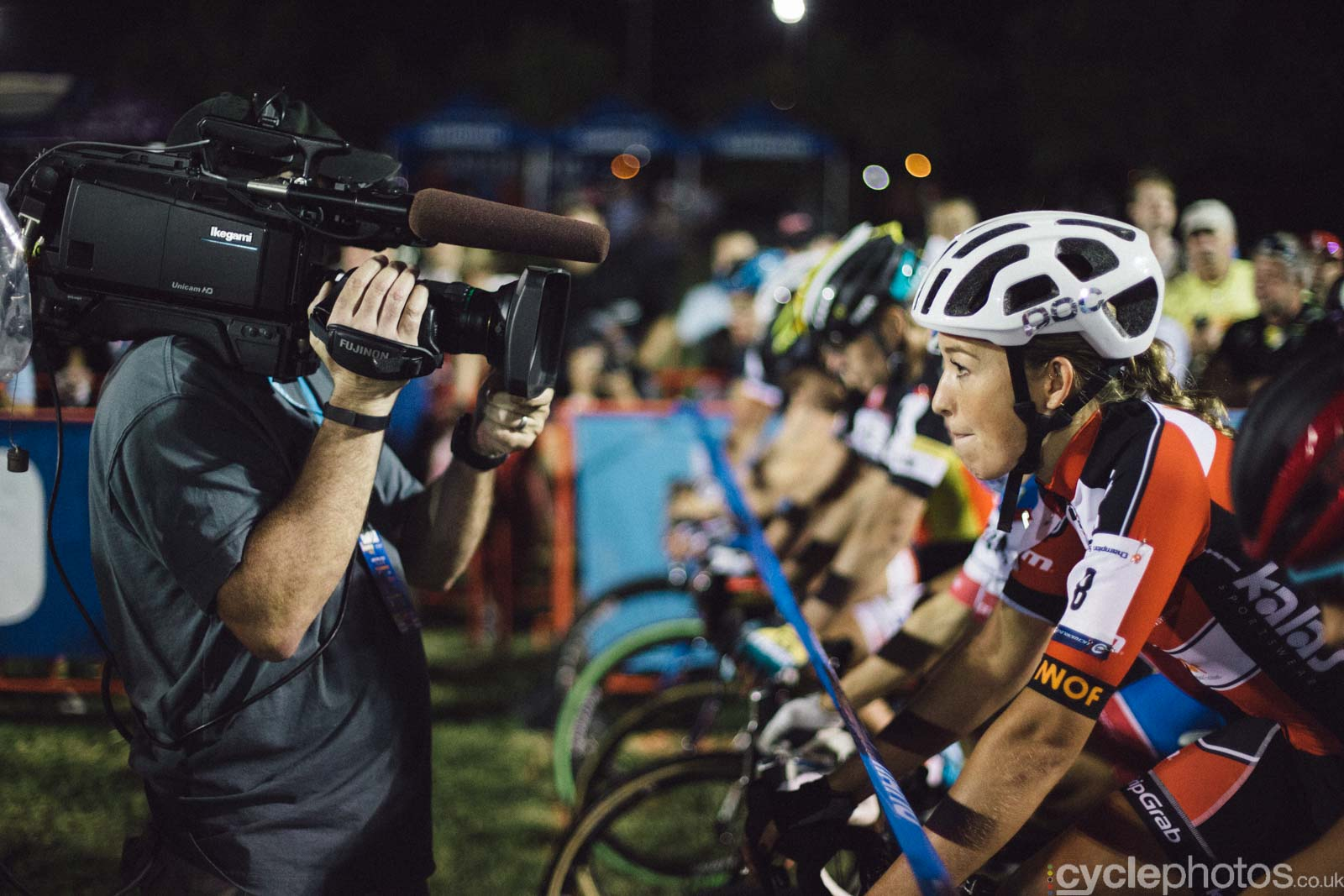 Sophie de Boer concentrates before Crossvegas, the first round of the 2015 UCI Cyclocross World race in Las Vegas, USA.