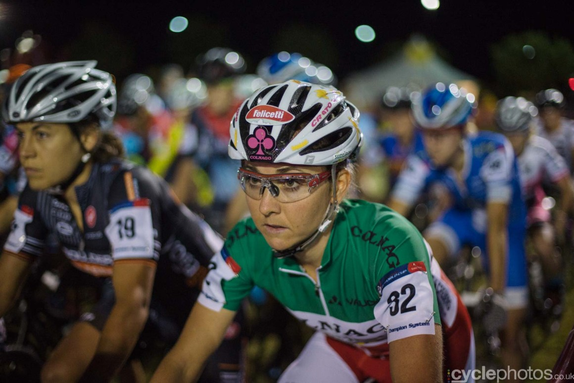 A concentrating Eva Lechner moments before Crossvegas, the first round of the 2015 UCI Cyclocross World race in Las Vegas, USA.