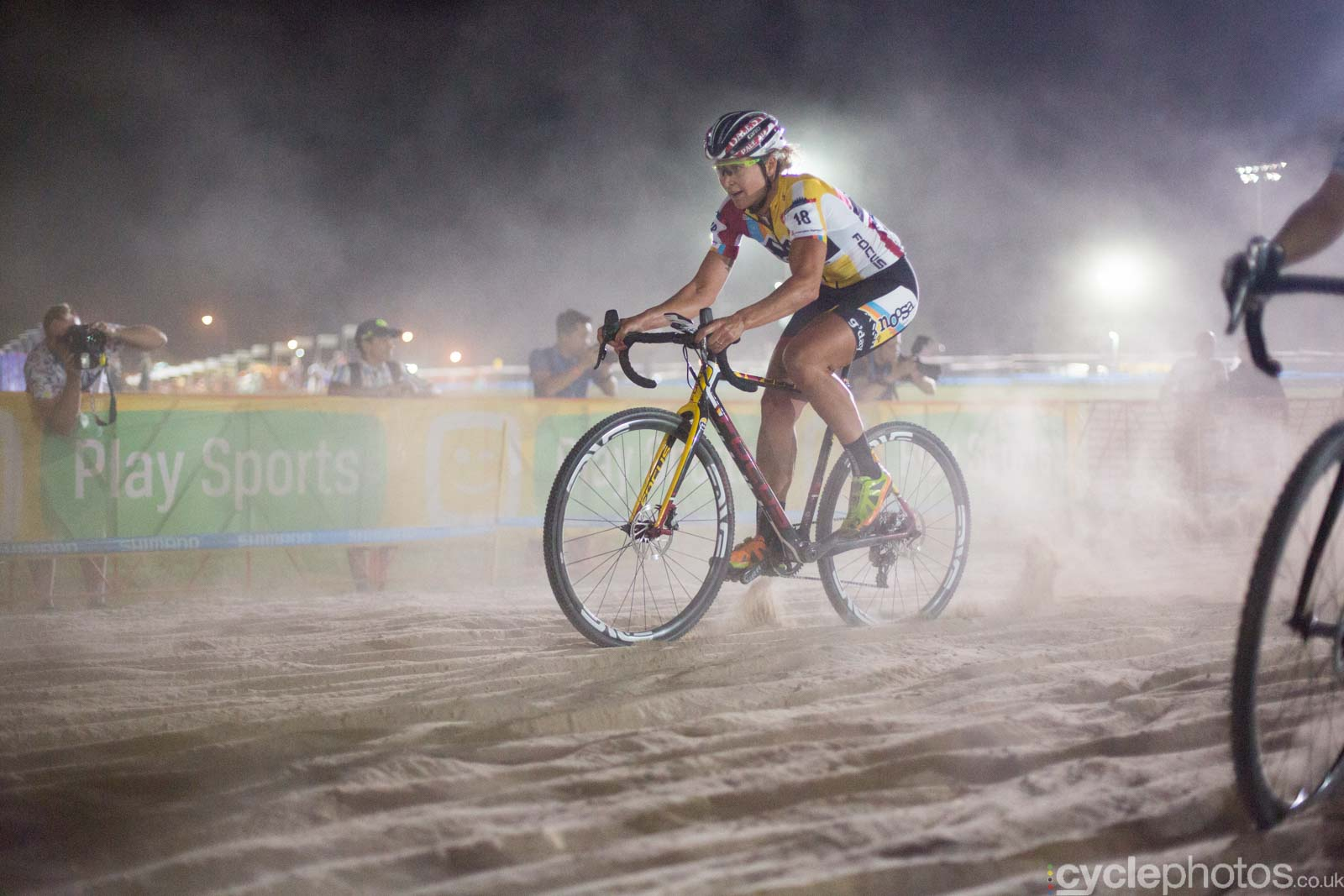 Meredith Miller rides through the only sandpit of Crossvegas, the first round of the 2015 UCI Cyclocross World race in Las Vegas, USA.
