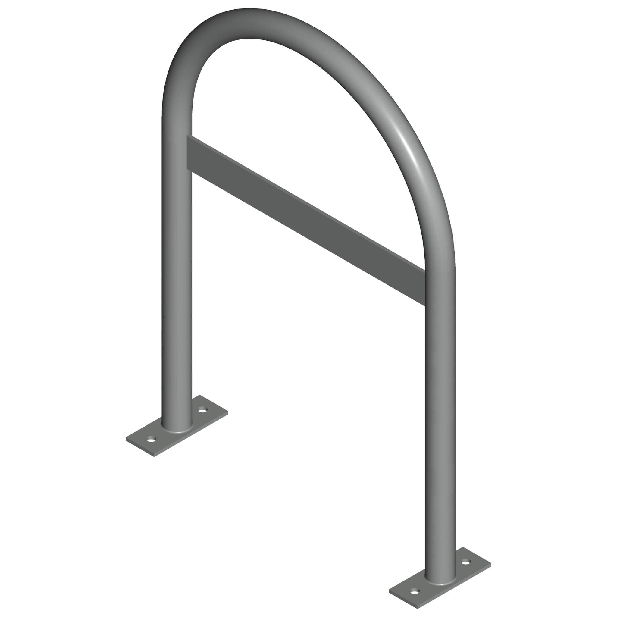 inverted u rack with crossbar gray