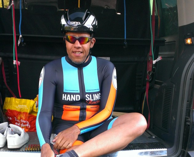 Peter Cole and his Air Attack waiting for the off in the team time trial stage of a recent race