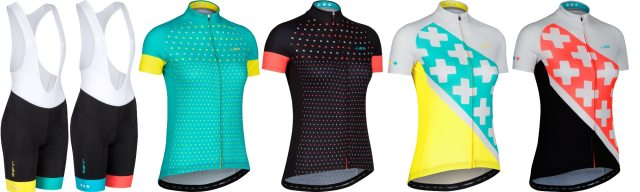The dhb Blok women's range has less jerseys, but an extra short choice
