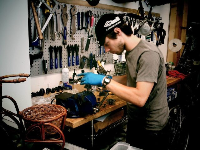 The heart and soul of a good bike shop, the staff. Photo courtesy of Umberto Brayj