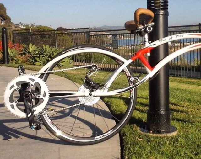 The Bird of Prey bicycle uses a standard drivetrain, just flipped upside down