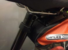 The Ortlieb's strap is covered to stop any rubbing on your clothing