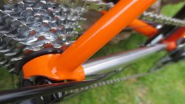 Brushed chainstays hark back to the good ol' days when bikes dripped with chrome