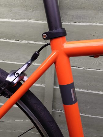 Straight seat stays and a slightly sloping top tube meet flawlessly, one of the joys of a hand built frame