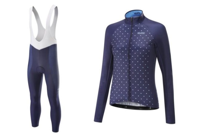 Elite ladies bib tights and long sleeved jersey from Velotec, for those crisp winter days