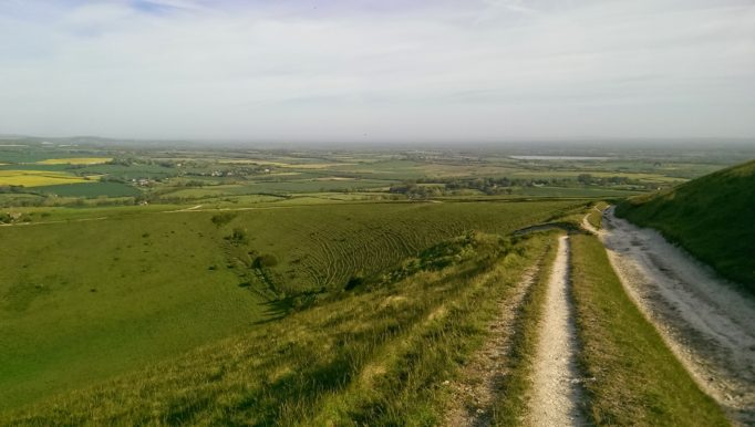 The view looking back down the last big hill, Windover. Don't worry there is one more after this!