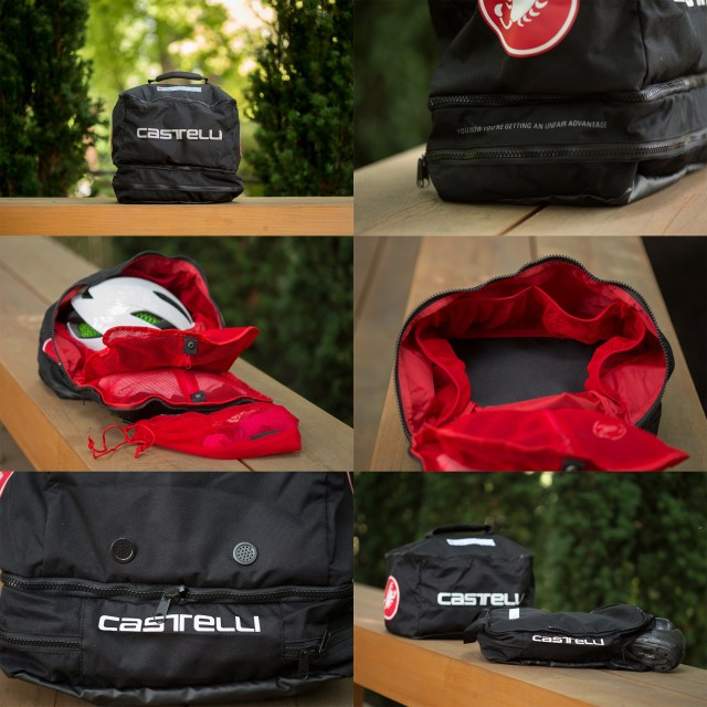 six images showing different views of the Castelli Race Rain Bag sitting on a bench with an out of focus background