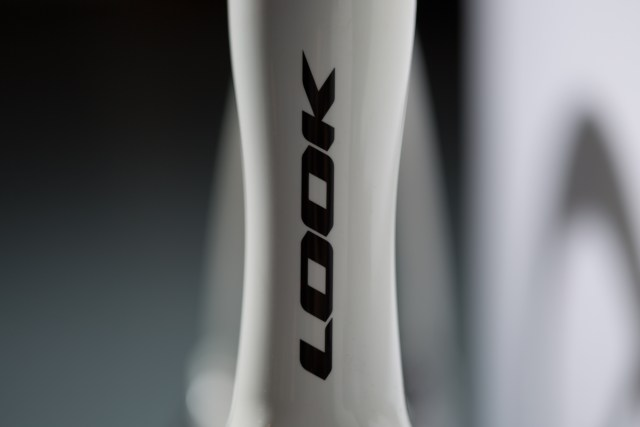 Close up image of the head tube and logo on the Look 795 Blade RS.