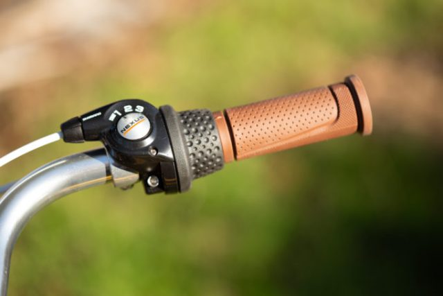 detail of the grip shift and brown handlebar grip on the brilliant bikes Carmen