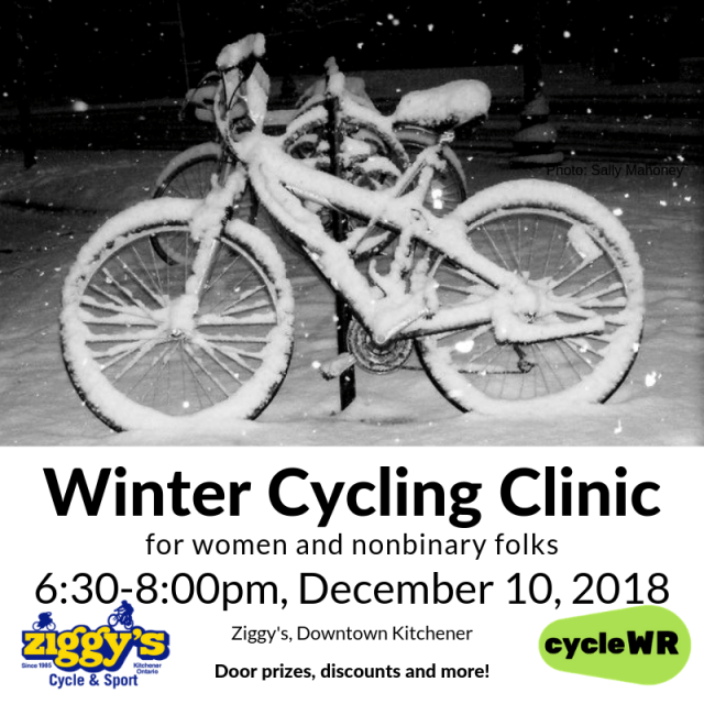 Winter Cycling Clinic - December 10, snowy bike image