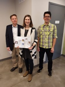 CycleWR steering committee members Emily and Josh presented their thank you card to Waterloo manager Jeff Silcox-Childs and a room full of environment & parks staff.